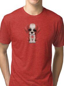 Cute Patriotic Canadian Flag Puppy Dog Tri-blend T-Shirt