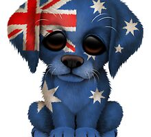 Cute Patriotic Australian Flag Puppy Dog by Jeff Bartels