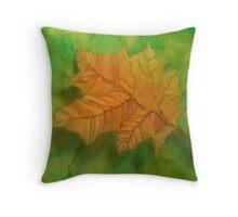 silk art Neil Welsh exclusive designs-autumn leaf Throw Pillow