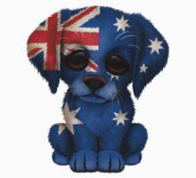 Cute Patriotic Australian Flag Puppy Dog One Piece - Short Sleeve