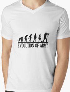 Evolution of army, Funny Human Evolve Mens V-Neck T-Shirt