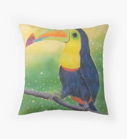 Silk art Neil Welsh exclusive designs-Tucan Throw Pillow