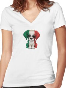 Cute Patriotic Italian Flag Puppy Dog Women's Fitted V-Neck T-Shirt