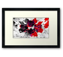 Abstract floral design in red and monochromes Framed Print
