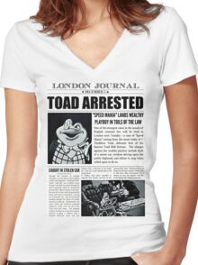 Toad Arrested Newspaper Women's Fitted V-Neck T-Shirt