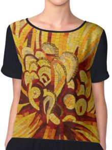 Sparkling, Intricate Golds and Yellows - a Floral Ceramic Tile Mosaic Chiffon Top