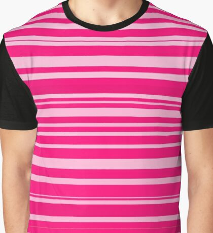 Bright hot and pale pink horizontal linework Graphic T-Shirt