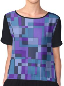 Abstract geometric design in cool hues Chiffon Top