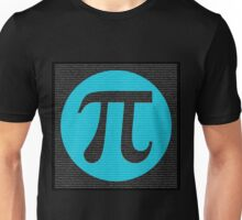 First 10,000 digits of Pi, blue on black. Unisex T-Shirt