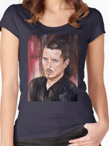 Christian Bale Portrait Women's Fitted Scoop T-Shirt