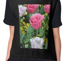 Pink and White Tulips Chiffon Top