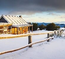 Craigs Hut Winter Sunrise, Mt Stirling, Victoria, Australia by Michael Boniwell