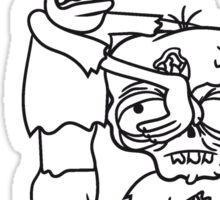 2 freunde team paar papa kind junge familie zombie laufen gehen hässlich comic cartoon lustig horror halloween  Sticker