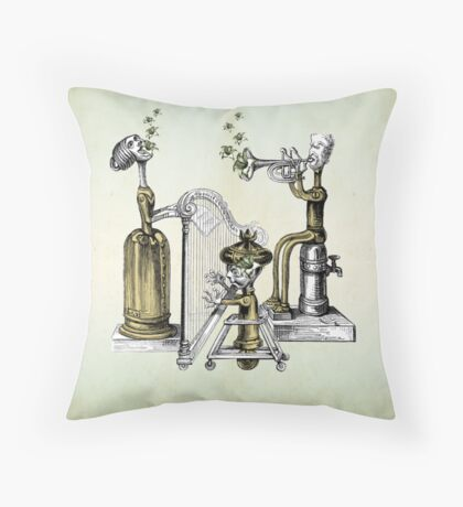 The Tinkerbot Clockwork Band and the Flower Song Throw Pillow