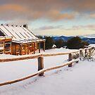 Craigs Hut Winter Dawn, Mt Stirling, Victoria, Australia by Michael Boniwell