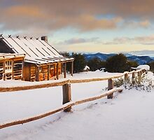Craigs Hut Winter Dawn, Mt Stirling, Victoria, Australia by Michael Boniwell