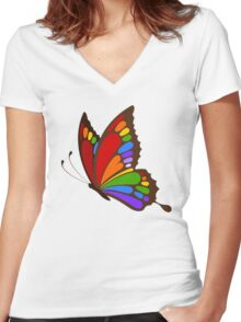 Colorful Rainbow Butterfly Women's Fitted V-Neck T-Shirt