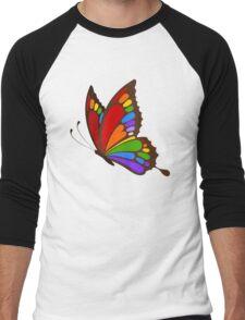 Colorful Rainbow Butterfly Men's Baseball ¾ T-Shirt
