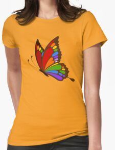 Colorful Rainbow Butterfly Womens Fitted T-Shirt