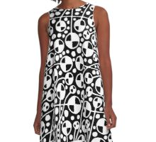 Abstract 130112 - White on Black A-Line Dress