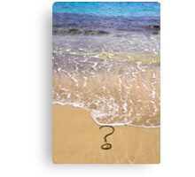 question mark sign in sand beach Canvas Print
