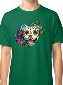 Smiling Pit Bull in White - Day of the Dead Happy Pitbull - Sugar Skull Dog Classic T-Shirt