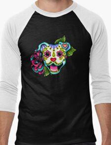Smiling Pit Bull in White - Day of the Dead Happy Pitbull - Sugar Skull Dog Men's Baseball ¾ T-Shirt
