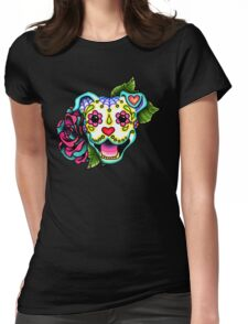 Smiling Pit Bull in White - Day of the Dead Happy Pitbull - Sugar Skull Dog Womens Fitted T-Shirt