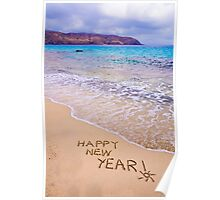 happy new year written in the sand of a beach Poster