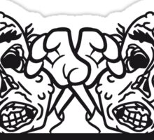 2 freunde mauer wand klettern rahmen schild text team party zombies böse ekelig monster horror halloween zombie design  Sticker