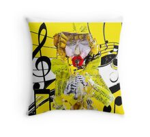 Musical Paper Doll and Flute  Throw Pillow
