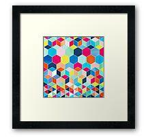 Super Bright Color Fun Hexagon Pattern Framed Print