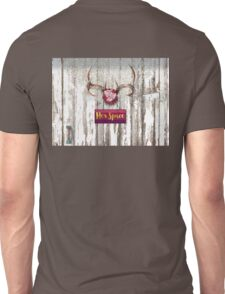 Her Space, deer antlers, flowers, Santa Fe cottage style Unisex T-Shirt