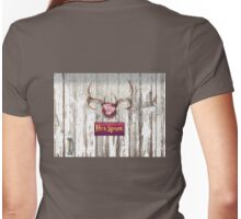 Her Space, deer antlers, flowers, Santa Fe cottage style Womens Fitted T-Shirt