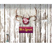 Her Space, deer antlers, flowers, Santa Fe cottage style Photographic Print