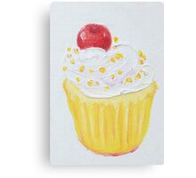 Vanilla cupcake with frosting and sprinkles Canvas Print
