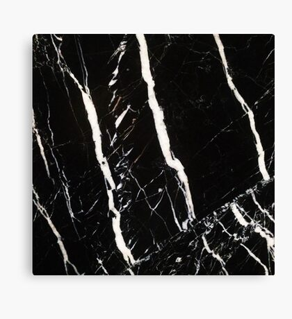 Black Marble with White Detail Pattern Canvas Print
