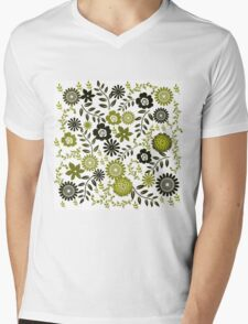 Floral Pattern in Green and Chartreuse Colors Mens V-Neck T-Shirt