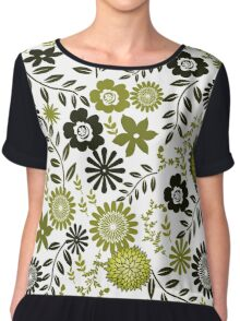 Floral Pattern in Green and Chartreuse Colors Chiffon Top