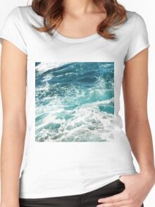 Blue Ocean Waves  Women's Fitted Scoop T-Shirt