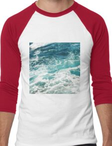 Blue Ocean Waves  Men's Baseball ¾ T-Shirt