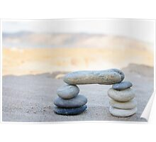 A stack of pebbles in black and white, arch shape, zen concept Poster