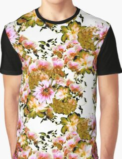 Pink and Yellow-Green Romantic Floral Print Graphic T-Shirt