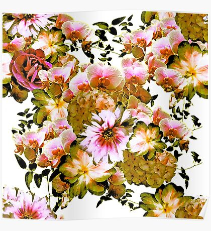 Pink and Yellow-Green Romantic Floral Print Poster