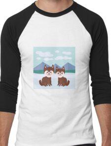 Funny husky dogs Men's Baseball ¾ T-Shirt