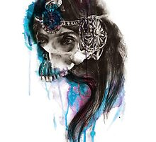 PRINCESS - Ink and Charcoal Skull Portrait by Kerry Beall