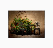 Table and Chairs in Black With Flowers Unisex T-Shirt