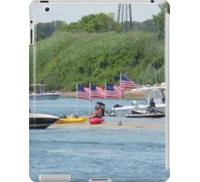Patriotism - Flags on Sand Dune amid Manasquan River iPad Case/Skin