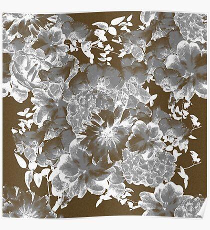 Gray Romantic Floral Print Poster