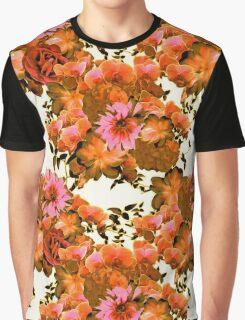 Orange Romantic Floral Print Graphic T-Shirt